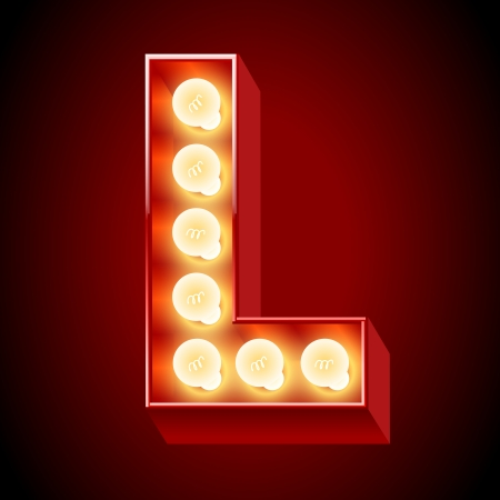 Old lamp alphabet for light board  Letter L Vector