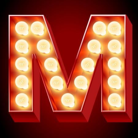 neon party: Antico alfabeto lampada per lavagna luminosa Lettera M Vettoriali