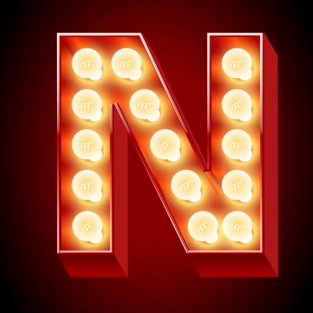 chrome letters: Old laNmp alfabeto de luz del panel de la letra N Vectores