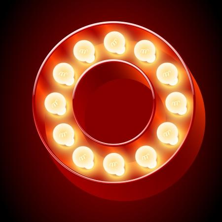 retro font: Vecchia lampada Oalphabet per lavagna luminosa Lettera O