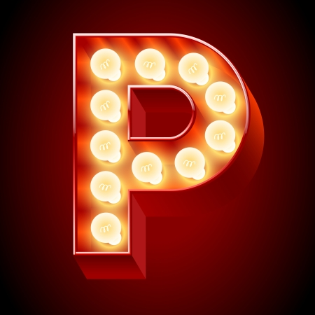 bright alphabet: Old lamp alphabet for light board  Letter P