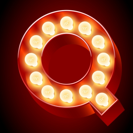 Old lamp alphabet for light board  Letter Q Vector