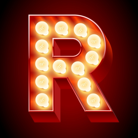 Old lamp alphabet fRor light board  Letter  Vector