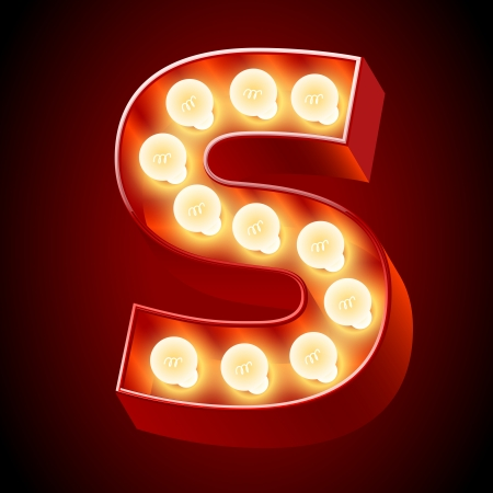 neon sign: Old lamp alphabet for light board  Letter S Illustration