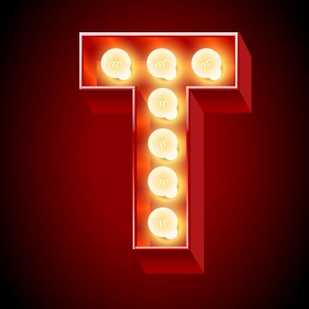 가벼운 널 문자 T에 대한 오래 된 램프 알파벳 일러스트