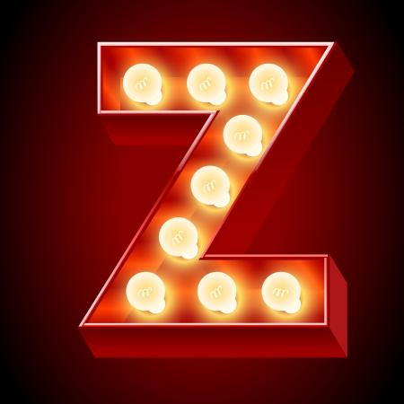 Old lamp alphabet for light board  Letter Z