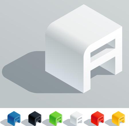 tipos de letras: Carta de color sólido en vista isométrica Letra A