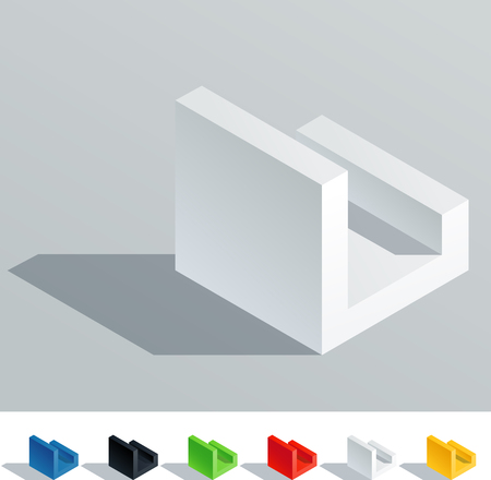 letter l: Solid colored letter in isometric view  Letter L
