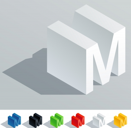 block letters: Solid colored letter in isometric view  Letter M Illustration