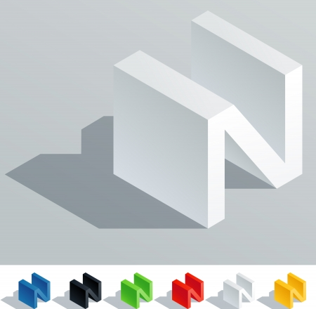 abc blocks: Solid colored letter in isometric view  Letter N