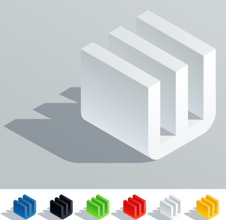 fonts 3d: Solid colored letter in isometric view  Letter W Illustration