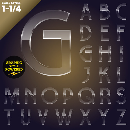alphabetic: Vector illustration of Glass font powered graphic styles