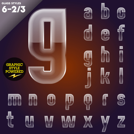 Vector illustration of Glass font powered graphic styles   Vector