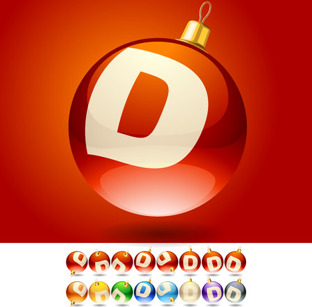 Ultimate set of alphabet font symbols on Christmas balls  Letter D Vector
