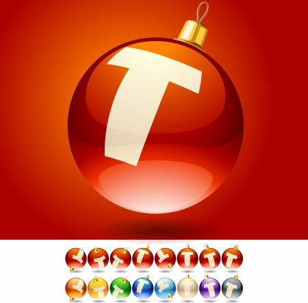Set of alphabet font symbols on Christmas balls  Letter T Vector