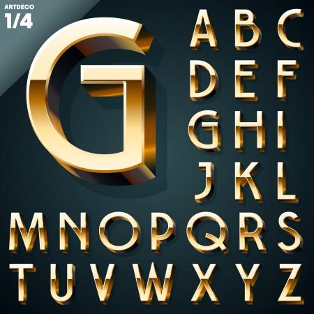 letras doradas: Ilustraci�n vectorial de oro 3D alfabeto Artdeco syle Set Vectores