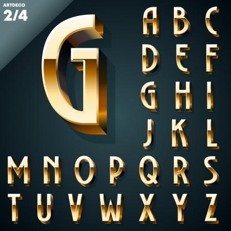 artdeco: Ilustraci�n vectorial de oro 3D alfabeto Artdeco syle Set Vectores