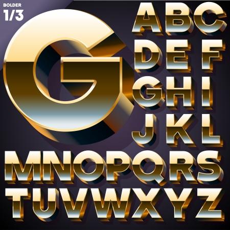Vector illustration of golden 3D alphabet  Set