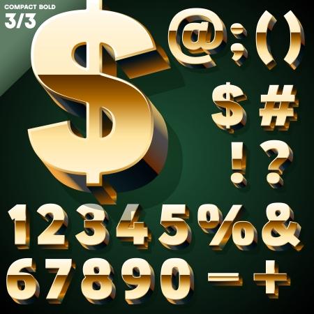 Vektor-Illustration der goldenen 3D-Alphabet-Set Standard-Bild - 22774076