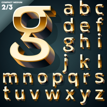 Vector illustration of golden 3D alphabet  Set