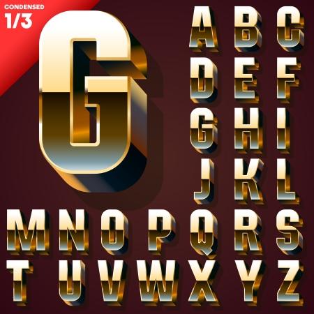 metal alphabet: Vector illustration of golden 3D alphabet  Set
