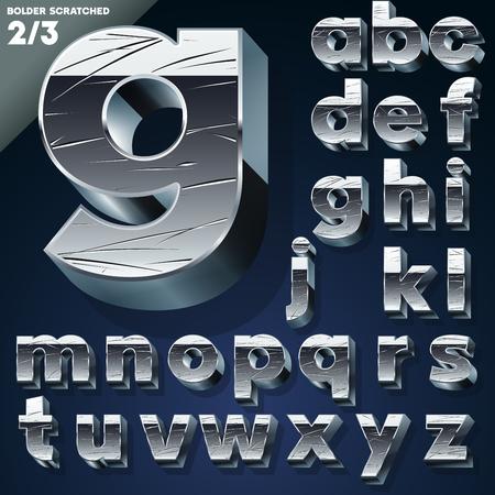 slab: Silver chrome or aluminum 3D alphabet   Slab style  Set Illustration