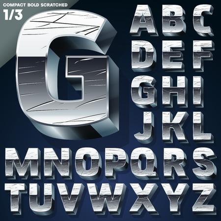 Silver chrome or aluminum 3D alphabet  Slab style  Set Stok Fotoğraf - 23211578