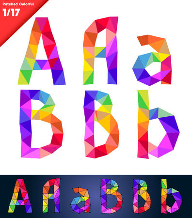 Colorful font of patches  Vector illustration  Letters A B Vector