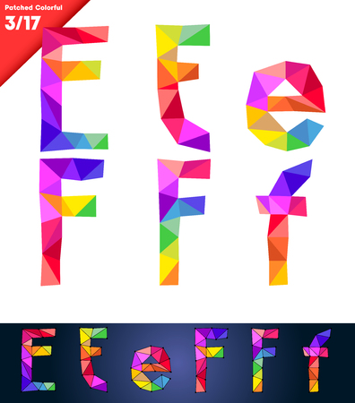 Colorful font of patches  Vector illustration  Letters E F Vector