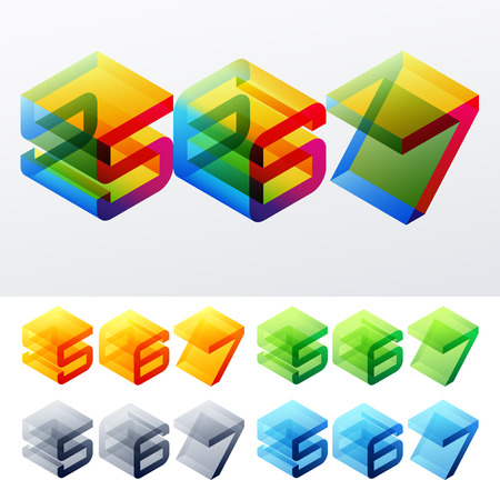 6 7: Colored text in isometric view  Cube-styled monospace characters  5 6 7 Illustration