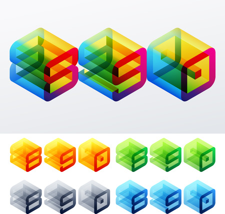8 9: Colored text in isometric view  Cube-styled monospace characters  8 9 0