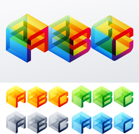 decorative letter: Colored text in isometric view  Cube-styled monospace characters  A B C Illustration