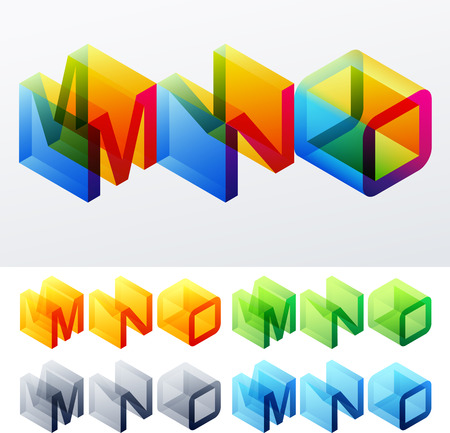 decorative letter: Colored text in isometric view  Cube-styled monospace characters  M N O Illustration