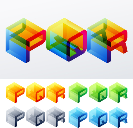 R: Colored text in isometric view  Cube-styled monospace characters  P Q R