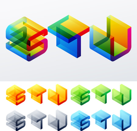 u s: Colored text in isometric view  Cube-styled monospace characters  S T U
