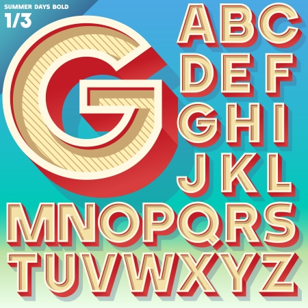 Vector retro alphabet for Summer typography design  Simple Bold Style  Upper cases Illustration