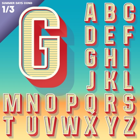 font: Vector retro alphabet for Summer typography design  Condensed style  Upper cases