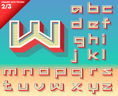 Vector retro alphabet for Summer typography design  Techno style  Small cases Stock Vector - 24078561