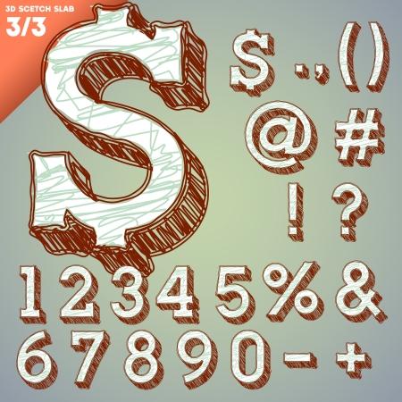slab: Sketch alphabet  Vector illustration of hand drawing font  Slab numbers