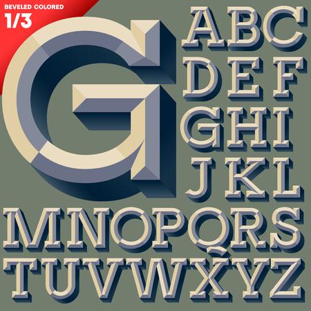 tipos de letras: Ilustración vectorial de la vieja escuela biselado Mayúsculas versión coloreada simple alfabeto Vectores