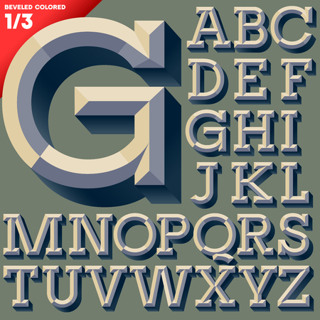Vector illustration of old school beveled alphabet  Simple colored version  Upper case 向量圖像