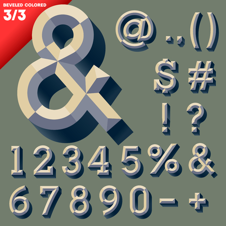 bevel: Vector illustration of old school beveled alphabet  Simple colored version  Symbols Illustration