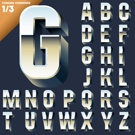 Vector alphabet of simple 3d letters  Sans bold  Upper cases Chrome