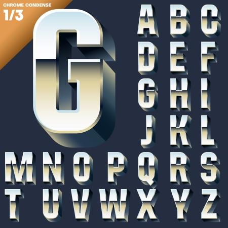 Vector alphabet of simple 3d letters  Sans bold  Upper cases Chrome