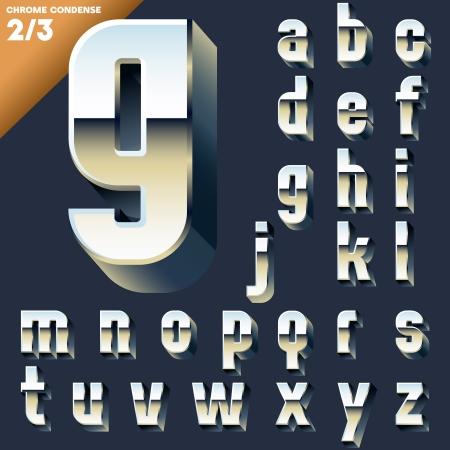Vector alphabet of simple 3d letters  Sans bold  Small cases Chrome Ilustração