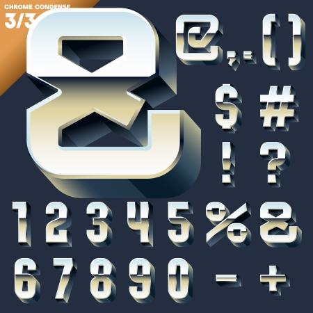 Vector alphabet of simple 3d letters  Sans bold  Symbols cases Chrome Ilustração