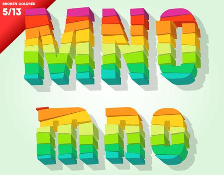 typeface: Broken colorful alphabet  Vector illustration Symbols m n o Illustration