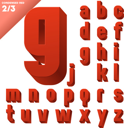 Three-dimensional condensed alphabet  Vector illustration of 3d font characters  Clear color style  Small case