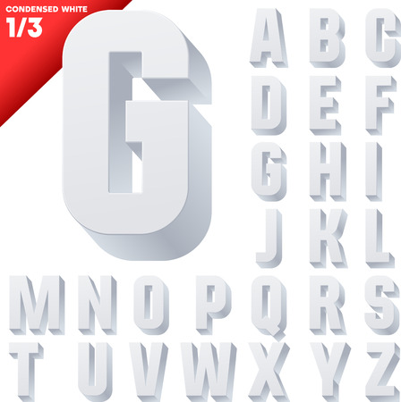 Three-dimensional condensed alphabet  Vector illustration of 3d font characters  Clear color style  Upper case