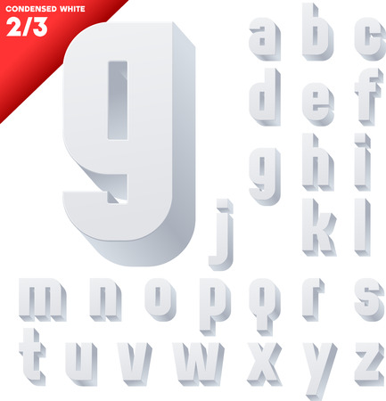 three dimensions: Three-dimensional condensed alphabet  Vector illustration of 3d font characters  Clear color style  Small case